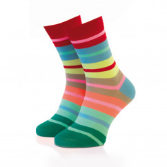 Cooler Ringelsocken bunt Gr. 41-36 von Remember Design. Fashionsocken, bunt gestreifter Design Socken.