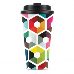 Doppelwandiger Trinkbecher / Thermobecher HEXAGON - Sechseck Design - Remember Design.