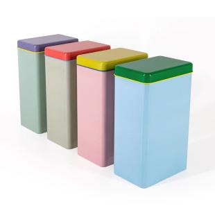 Farbenfrohe Aufbewahrungsdosen für die Küche und andere Orte. 4 große Vorratsdosen aus Blech. Vorratsbehälter im 4er-Set.