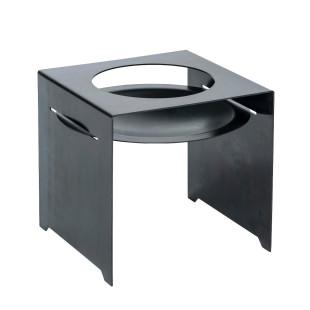 Feuerschale in Stahlbank BASIC von designimdorf. Design Feuerstelle aus Metall. Mit Zubehör auch Kochstelle und Grill!