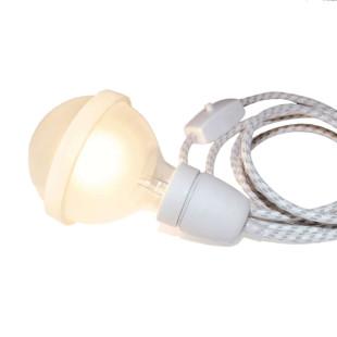 Legelampe von Raumgestalt: extragroße Glühbirne mit Silikonband zum Legen - mit Porzellanfassung und Textilkabel.