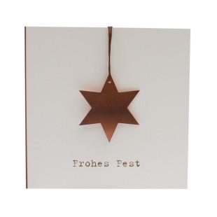 Weihnachtskarte FROHES FEST mit Kupferstern am Band inklusive transparentem Umschlag von Raumgestalt Design.