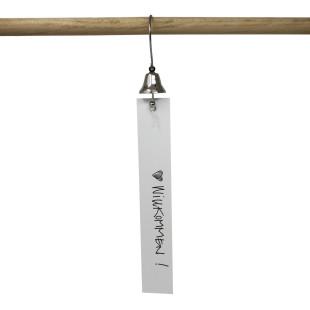 Raumgestalt präsentiert den Willkommensgruß: Glöckchen mit Aufhängung + Pappstreifen.