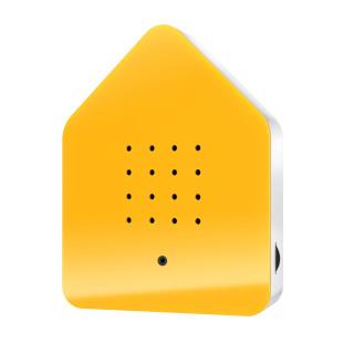 Relax Natursound Zwitscherbox gelb. Vogelgezwitscher Soundbox - Vogelhaus mit Bewegungsmelder.