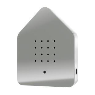 Relax Natursound Zwitscherbox grau. Vogelgezwitscher Soundbox - Vogelhaus mit Bewegungsmelder.