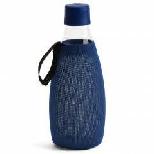 Dunkelblaue Schutzhülle / Sleeve für die Glas Trinkflasche 0,8 Liter von Retap
