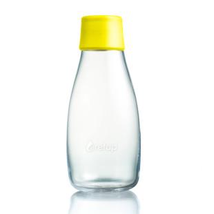 Retap Trinkflasche 0,3l aus Borosilikatglas mit gelbem Deckel.