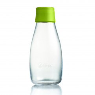 Retap Trinkflasche 0,3l aus Borosilikatglas mit hellgrünem Deckel.