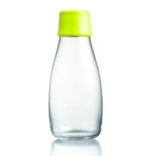 Retap Trinkflasche 0,3l aus Borosilikatglas mit lemonfarbenem Deckel.