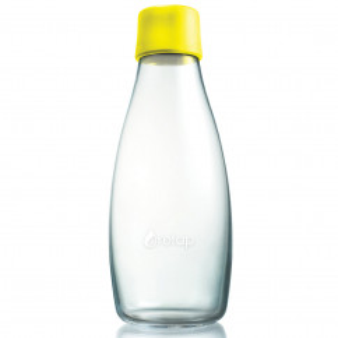 Retap Trinkflasche 0,5l aus Borosilikatglas mit gelbem Deckel.
