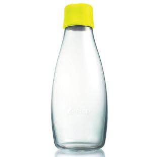 Retap Trinkflasche 0,5l aus Borosilikatglas mit lemonfarbenem Deckel.