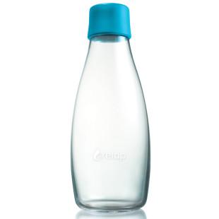 Retap Trinkflasche 0,5l aus Borosilikatglas mit türkisblauem Deckel.