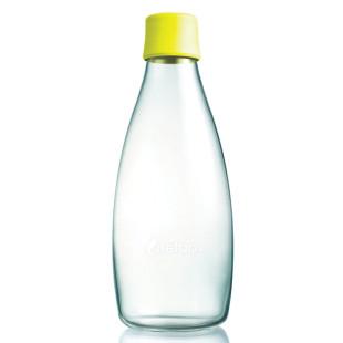 Retap Trinkflasche 0,8l aus Borosilikatglas mit lemonfarbenem Deckel.