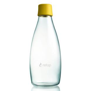 Retap Trinkflasche 08: Glasflasche mit Kunststoffdeckel aus Silikon in mustard yellow ( senfgelb ). Retap Glasflasche 0,8 Liter.