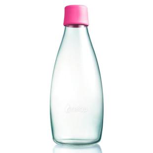 Retap Trinkflasche 0,8l aus Borosilikatglas mit pinkem Deckel.