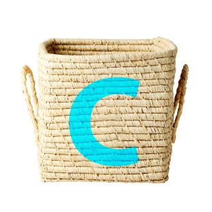 Korb mit Buchstabe C - Bastkorb 20 cm