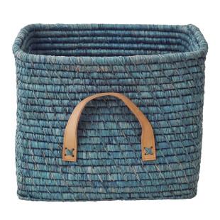 Korb mit Ledergriff / Square Basket Raffia blau