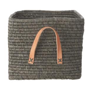 Korb mit Ledergriff / Square Basket Raffia grau