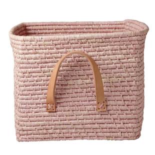 Korb mit Ledergriff / Square Basket Raffia soft pink