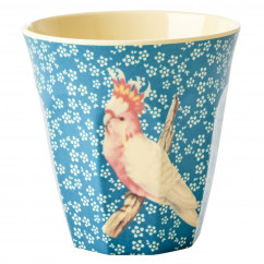 Melamin Becher Two Tone, Vintage Bird Kakadu - Flower Print blue