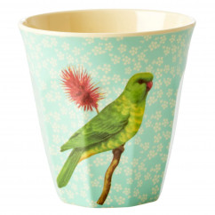 Melamin Becher Two Tone, Vintage Bird Sittich - Flower Print mint
