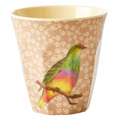Melamin Becher Two Tone, Vintage Bird Vogel - Flower Print beige