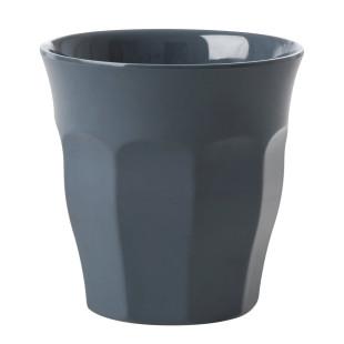 Melaminbecher medium RICE - Grauer Trinkbecher aus Melamin - Kunststoffbecher dunkelgrau - Becher MELCU - BPA-frei, robust, stapelbar, spülmaschinengeeignet - RICE Denmark