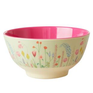 Farbenfrohe Schale mit bunter Blumenwiese. Schüssel Summer Flower Prints aus Melamin von Rice Denmark.