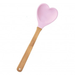 Silikonlöffel / Küchenspatel Herz, rosa