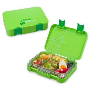 Auslaufsichere Lunchbox JUNIOR für Kinder! Die schmatzfatz Kinderlunchbox in grün variablen Fächern - 6 Fächern / 4 Fächern.