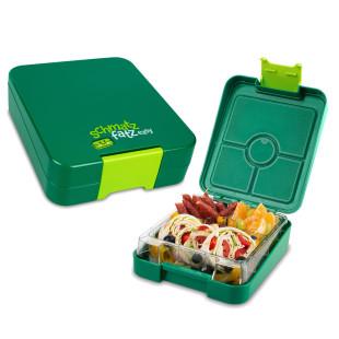 Schmatzfatz Kinderlunchbox grün mit Unterteilungen. Auslaufsichere Lunchbox für Kinder mit Fächern.