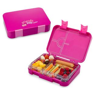 Auslaufsichere Lunchbox für Kinder! Die schmatzfatz Kinderlunchbox in lila (violett) variablen Fächern - 6 Fächern / 4 Fächern.