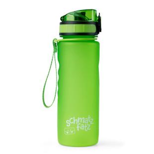 Grüne Trinkflasche 0,5 l aus Kunststoff von schmatzfatz. Auslaufsichere Kinder Trinkflasche 500 ml mit 1-Klick-Verschluss, Trageschlaufe und Fruchtsieb.