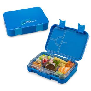 Auslaufsichere Lunchbox für Kinder! Die schmatzfatz Kinderlunchbox in blau mit 6 Fächern / 4 Fächern.