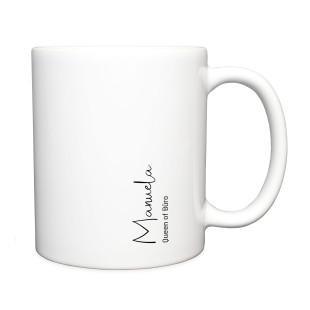 Design Kaffeetasse - Henkeltasse personalisiert - Moderne Namenstasse - Weiße Tasse mit Name und Text bedruckt.