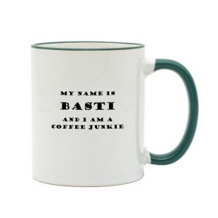Kaffeetasse COFFEE JUNKIE mit Namen. Coffee Mug. Bedruckte Namenstassen mit Kaffeesprüchen.