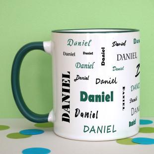 Tasse mit Namen - Namenstasse dunkelgrün - Personalisierte Keramiktasse - Henkeltasse mit Druck Name - Design Tasse bedruckt.