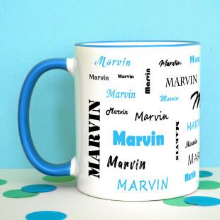 Tasse mit Namen - Namenstasse hellblau- Personalisierte Keramiktasse - Henkeltasse mit Druck Name - Design Tasse bedruckt.