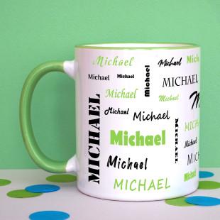 Tasse mit Namen - Namenstasse hellgrün