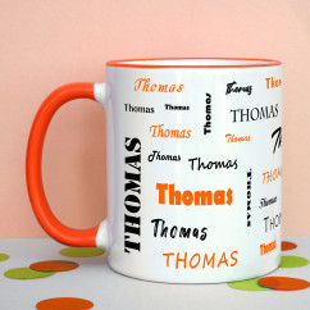 Tasse mit Namen - Namenstasse orange