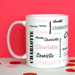 Tasse mit Namen - Namenstasse rosa - Personalisierte Keramiktasse - Henkeltasse mit Druck Name - Design Tasse bedruckt.