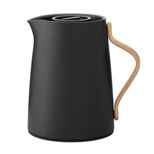 Teekanne Emma 1 Liter von Stelton - Design Thermoskanne mit Siebeinsatz - Doppelwandige Isolierkanne aus Edelstahl mit Holzgriff