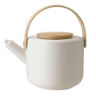 Stelton Teekanne Theo 1,25 l in sandgrau mit Bambus Holzgriff. Design Teekanne aus Steinzeug.