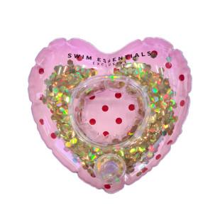 Aufblasbarer Schwimmring HEART ROSE von Swim Essentials. Schwimmender Herz-Getränkehalter. Pool Becherhalter zum Aufblasen.