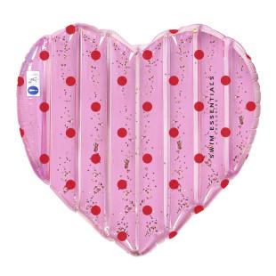 Große Herz Luftmatratze HERZ mit roten Punkten + Glitter: HEART FLOAT REDDOTS von Swim Essentials.