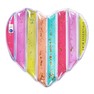 Bunte Luftmatratze HERZ Regenbogen mit Glitter: HEART FLOAT RAINBOW von Swim Essentials. Schwimmende Herz-Matratze.