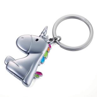 Einhorn Schlüsselanhänger aus Metall mit bunter Mähne.