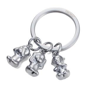 Schlüsselring mit 3 Affen-Charms. Schüsselanhänger THREE MONKEYS in matt silber by TROIKA Design.