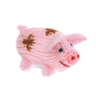 Strick Schweinchen spottet rose (handmade)