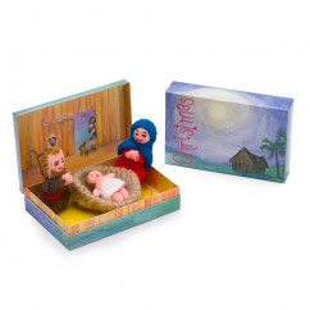 Krippe Christmas - Story in Box: erzähle deine lebendige Weihnachtsgeschichte mit den gehäkelten Figuren aus Peru.